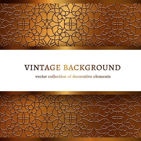 Vintage gold vector frame with lace border pattern, ornamental golden background