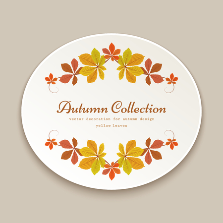 Autumn label, oval sticker with fallen yellow leaves