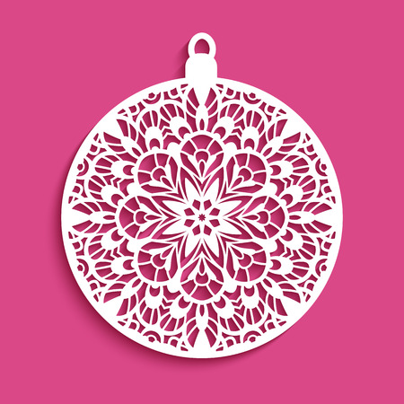 Ornamental Christmas ball, cutout paper pattern, round decoration for laser cutting or wood carving Ilustração