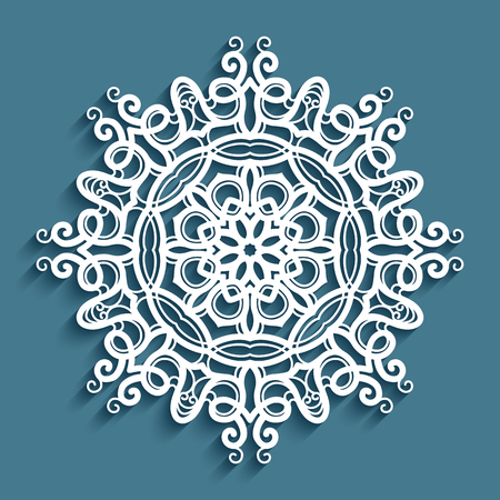 Round lace doily under cake, vintage crochet ornament, cutout paper decorative snowflake, mandala circle pattern, template for laser cutting
