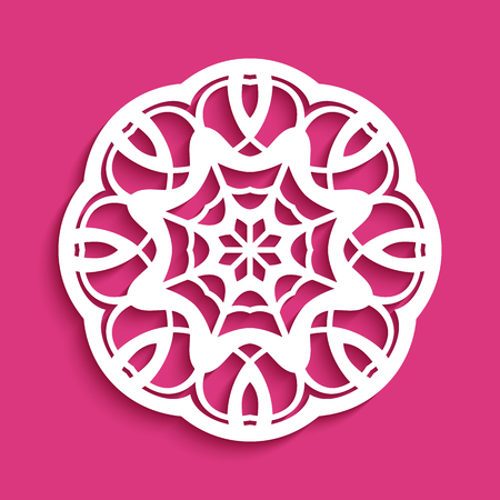 Round lace doily, circle crochet ornament, cutout paper mandala pattern, vector template for laser cutting 矢量图片