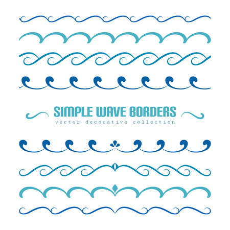 Blue waves, set of wavy borders, divider lines with curly pattern, simple nautical ornaments and flourish vignettes, swirly embellishment on white Ilustração