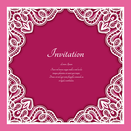 Square frame with lace border ornament, vintage template for laser cutting or plotter printing, cutout paper decoration for wedding invitation card with place for text