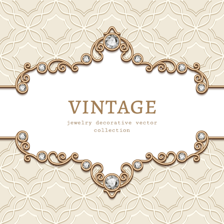 Vintage vector frame with diamond jewellery border pattern, elegant vignette, jewelry gold flourish decoration for wedding invitation card or announcement design with place for text Ilustração