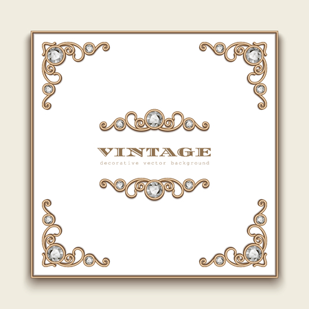 Vintage square frame with jewellery corner pattern, vector jewelry gold decoration, wedding invitation design with place for text