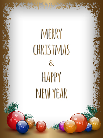 Merry Christmas and happy New Year greeting card, vector background with gold frame and Christmas baubles decoration. Can be used for party invitation or packaging design