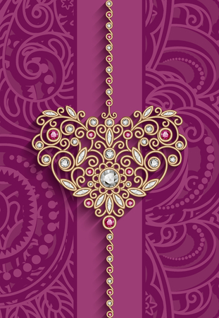 Vintage gold jewelry pendant in shape of heart decorated with diamonds and ruby gems, womens decoration on pink background, greeting card or invitation design