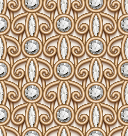 Vintage gold jewellery ornament, vector jewelry seamless pattern with diamonds