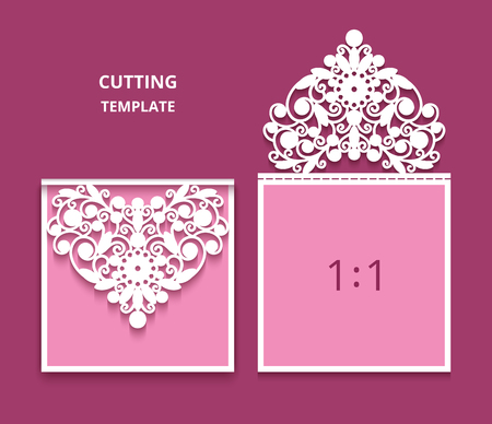 Wedding invitation card with cutout lace decoration in shape of heart, paper swirls ornament, template for laser cutting