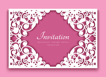 Rectangle frame with cutout floral swirls and place for text, ornamental lace decoration for greeting card or wedding invitation design, template for laser cutting Stock fotó - 126067667