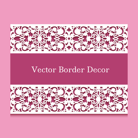 Vintage frame with border lace ornament. Elegant greeting card or wedding invitation template with place for text. Cutout paper swirly decoration.