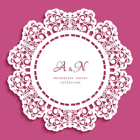 Round lace doily with cutout border ornament, template for laser cutting, circle lacy decoration for wedding invitation card