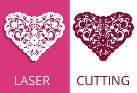 Cutout paper heart with floral ornament, curly vector template for laser cutting