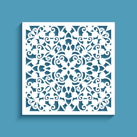 Decorative panel with lace pattern, square ornamental tile, template for laser cutting