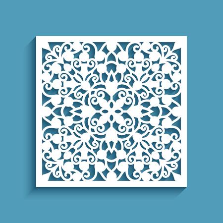Panel decorativo con patrón de encaje, teja ornamental cuadrada, plantilla para corte por láser Ilustración de vector