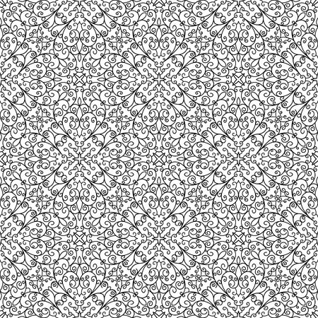 Black and white lace texture, curly ornament in doodle style, seamless pattern for adult coloring book