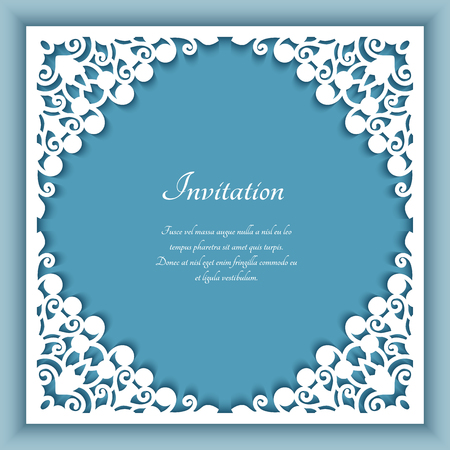 Square frame with lace corner ornaments, template for laser cutting, elegant cutout decoration for wedding invitation card with place for text Stock fotó - 125660184