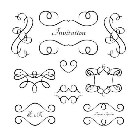 Vintage vignettes and flourishes, set of calligraphic decorative design elements in retro style, swirly embellishment on white Ilustração