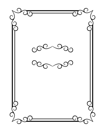 Vintage calligraphic rectangle frame with ornamental corners and flourish vignette, swirly embellishment in retro style with place for text