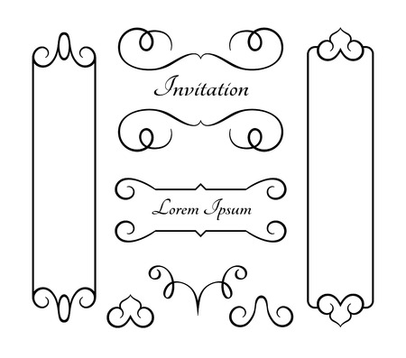 Vintage frames and flourishes, set of swirly decorative design elements in retro style, set of scroll embellishment on white Ilustração
