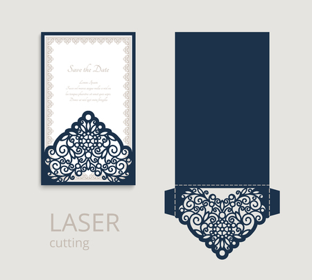 Cutout folding envelope for wedding invitation card with lace border ornament. Template for laser cutting. Place for text. Stock fotó - 125660189