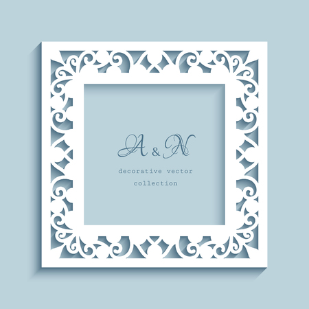 Square vector frame with cutout paper border, ornamental swirly decoration, template for laser cutting