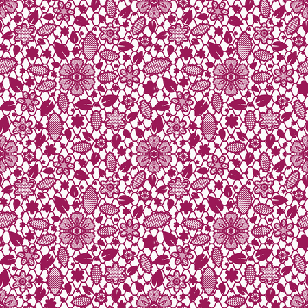 Floral lace fabric texture, tulle seamless pattern, elegant openwork ornament Ilustração