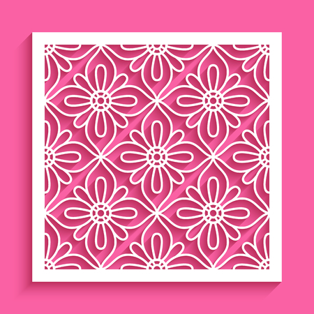 Square panel with lace pattern, cut out paper decoration, vector stencil template for laser cutting or plotter printing