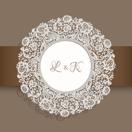 Vintage round label with lace border ornament, circle decoration for wedding invitation design with floral lace pattern, decorative frame with place for text