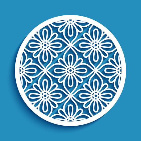 Round panel with lace pattern, elegant circle ornament, cutout paper vector decoration, stencil template for laser cutting Ilustração