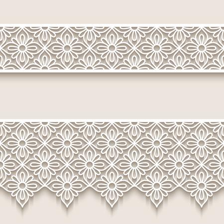 Rubans de dentelle vintage, motifs de bordures en papier découpé, ornements vectoriels ajourés, décoration élégante pour la conception d'invitations de mariage