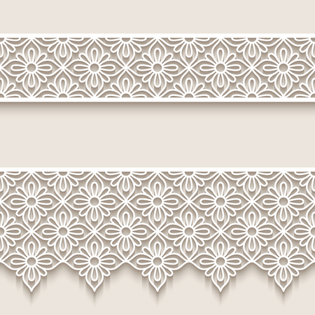 Vintage lace ribbons, cut out paper borders patterns, openwork vector ornaments, elegant decoration for wedding invitation design