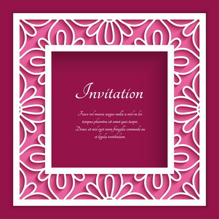 Square frame with lace border ornament, vector template for laser cutting, elegant cutout decoration for wedding invitation card with place for text