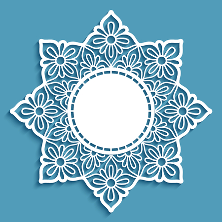 Round lace doily with cutout border ornament, vector template for laser cutting, elegant lacy napkin, elegant decoration for wedding invitation card with place for text