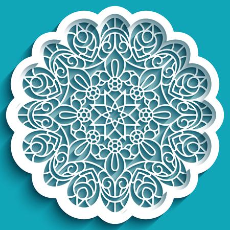 Round lace doily, vintage crochet ornament, cutout paper decoration, circle mandala pattern, stencil template for laser cutting Ilustração