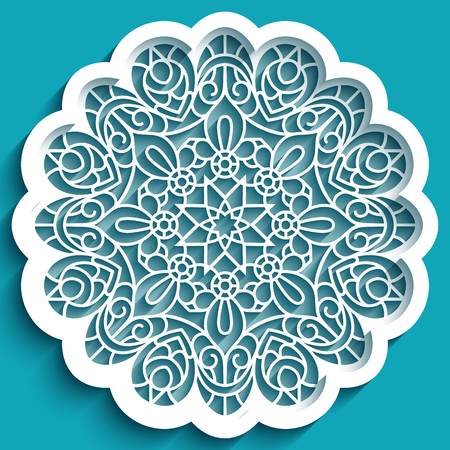 Round lace doily, vintage crochet ornament, cutout paper decoration, circle mandala pattern, stencil template for laser cutting Stock fotó - 125229787