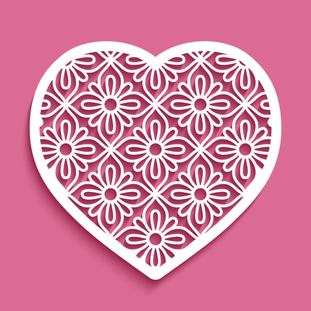 Ornate heart with lace pattern, vector template for laser cutting, cutout paper stencil decoration for wedding invitation or valentines day greeting card Ilustração