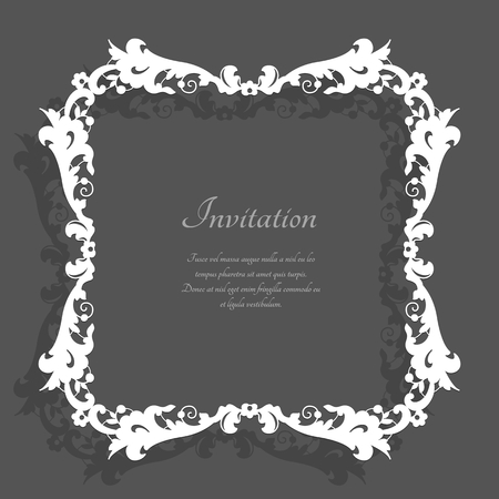 Vintage square frame with lace border pattern, elegant decoration for wedding invitation card, template for tablecloth or handkerchief edging