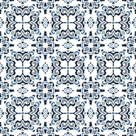 Abstract azulejo tiles, maiolica ceramic, curly seamless pattern, decorative ornament in lisbon style