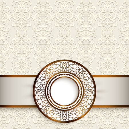 Vintage greeting card with ornamental gold label on lace background, wedding invitation or save the date card template
