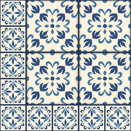 Blue and white ornate Portuguese tiles. Traditional azulejo patterns. Simple mandala ornaments. Set of ornamental ceramic tiles in Lisbon style. Decorative maiolica design. Ilustração