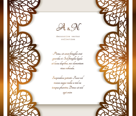 Vintage gold frame with ornamental lace borders and place for text, golden lacy decoration, elegant wedding invitation card template