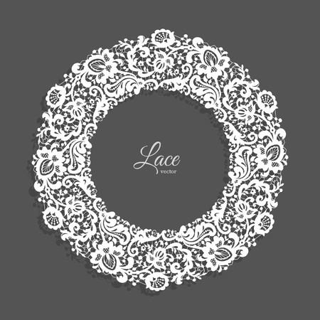 Vintage round frame with lace border ornament, lacy circle decoration for wedding invitation design with floral lace pattern Иллюстрация