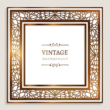 Square vector frame with gold border ornament and place for text, vintage golden decoration for wedding invitation card, template for laser cutting Ilustração