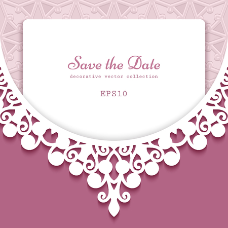 Cutout paper frame with lace border ornament. Wedding invitation or save the date card template with place for text. Elegant decoration for laser cutting.
