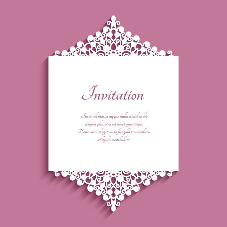 Wedding invitation or save the date card with cutout borders and place for text, ornamental lace decoration, elegant template for laser cutting