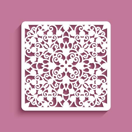 Panneau carré avec motif en dentelle, carreau ornemental, modèle élégant pour la découpe laser
