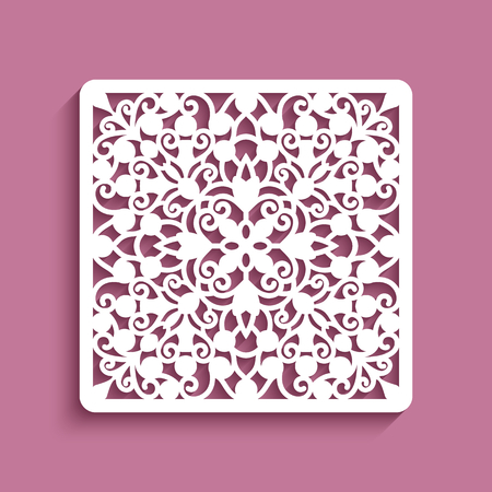 Square panel with lace pattern, ornamental tile, elegant template for laser cutting Ilustração