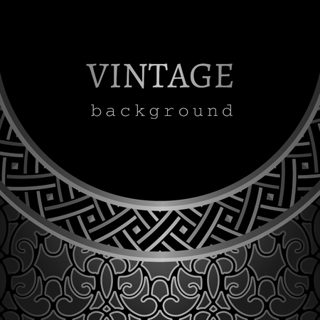 Vintage black background, ornamental silver frame with geometric border pattern Ilustração