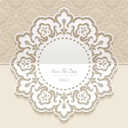 napperon en dentelle vintage, cadre rond avec motif de bordure en papier découpé, décoration ornementale pour la conception de cartes d'invitation de mariage Vecteurs